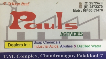 Pauls Agencies - Wholesale and Retail Dealers in Soap Chemicals, Industrial Acids, Alkalies and Distilled Water in Palakkad Town