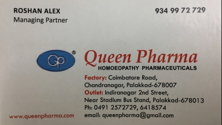 Queen Pharma - Homoeopathy Wholesale and Retails and Queens Care Homoeo Clinic in Palakkad , Ernakulam Kerala