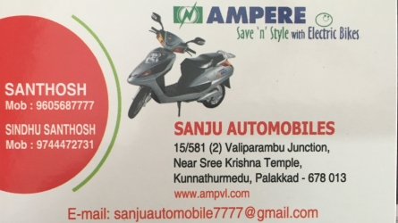 Sanju Automobiles - Ampere Electric Bikes Exclusive Dealer and All Electric Bikes Spare Parts and Service Near Stadium Bus Stand Palakkad