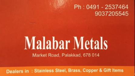 Malabar Metals - Wholesale and Retail Dealers in Steel, Brass, Copper and Gift Items - Home Appliances Shop in Market Road Palakkad Town