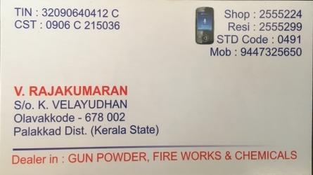 Velayudhan Sons - Wholesale and Retail Dealers in Gun Powder, Fire Works and Chemicals in Olavakkode Palakkad