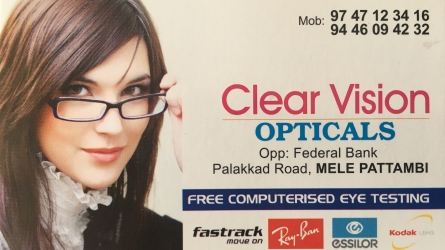 Clear Vision Opticals - Best Optical Shop and Eye Testing Centre in Pattambi Palakkad Kerala