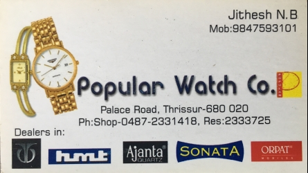 Popular Watch Co. - Best Watch and Spare Parts Sales and Repair Shop in Thrissur Kerala India
