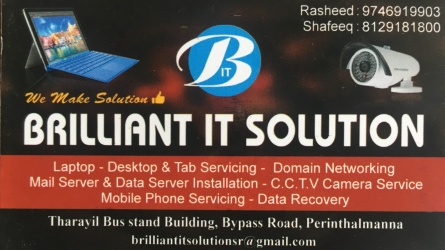 Brilliant IT Solution - Best Computer, Laptops and CCTV Sales and Service in Perinthalmanna Malappuram Kerala India